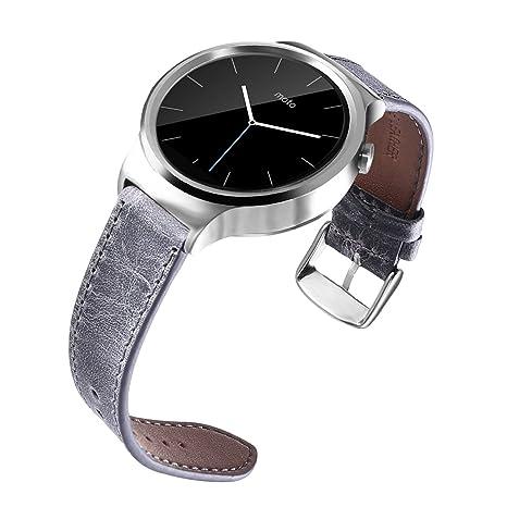 BarRan reg; 18mm Banda de reloj de cuero genuino de ...