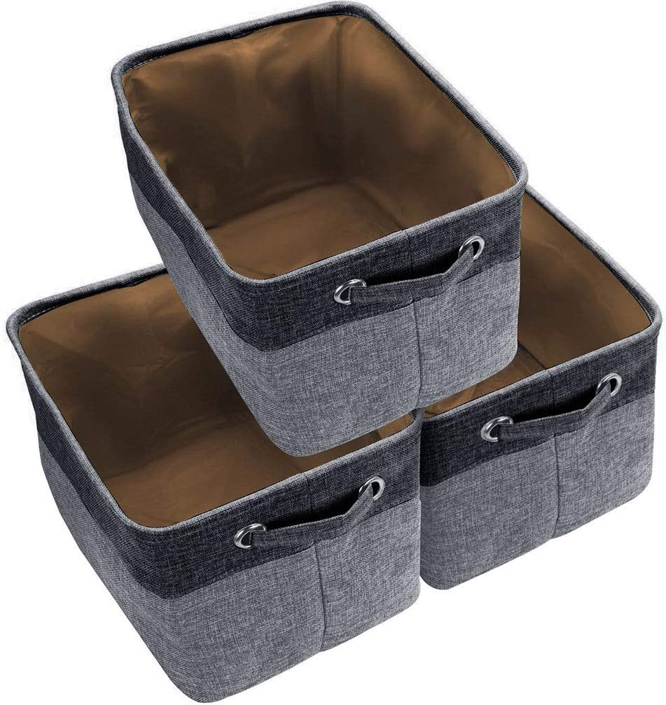 Awekris Large Storage Basket Bin Set [3-Pack] Storage Cube Box Foldable Canvas Fabric Collapsible Organizer with Handles for Home Office Closet Toys Clothes Kids Room Nursery (Grey) (Black)
