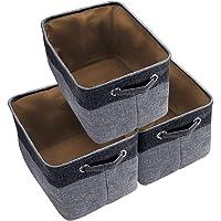 Awekris Large Storage Basket Bin Set [3-Pack] Storage Cube Box Foldable Canvas Fabric Collapsible Organizer with Handles…