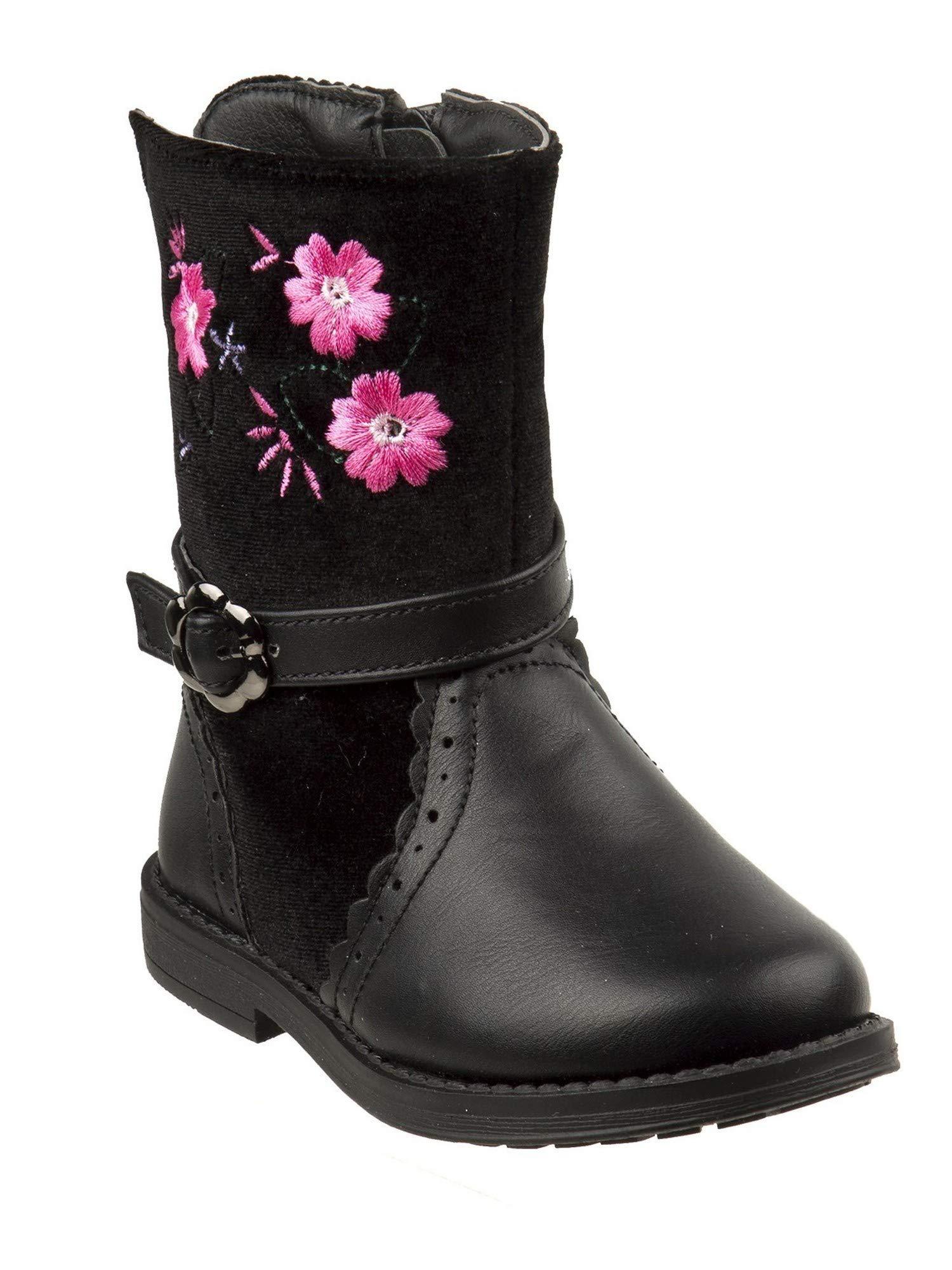 Laura Ashley Little Girls Black Pink Floral Buckle Strap Boots 8 Toddler