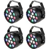 Lixada Luz de Escenario DMX-512 RGBW LED Etapa par Luz Estroboscópica Profesional 8 Canal Partido Discoteca Mostrar 15W 12 LED (4 PCS)