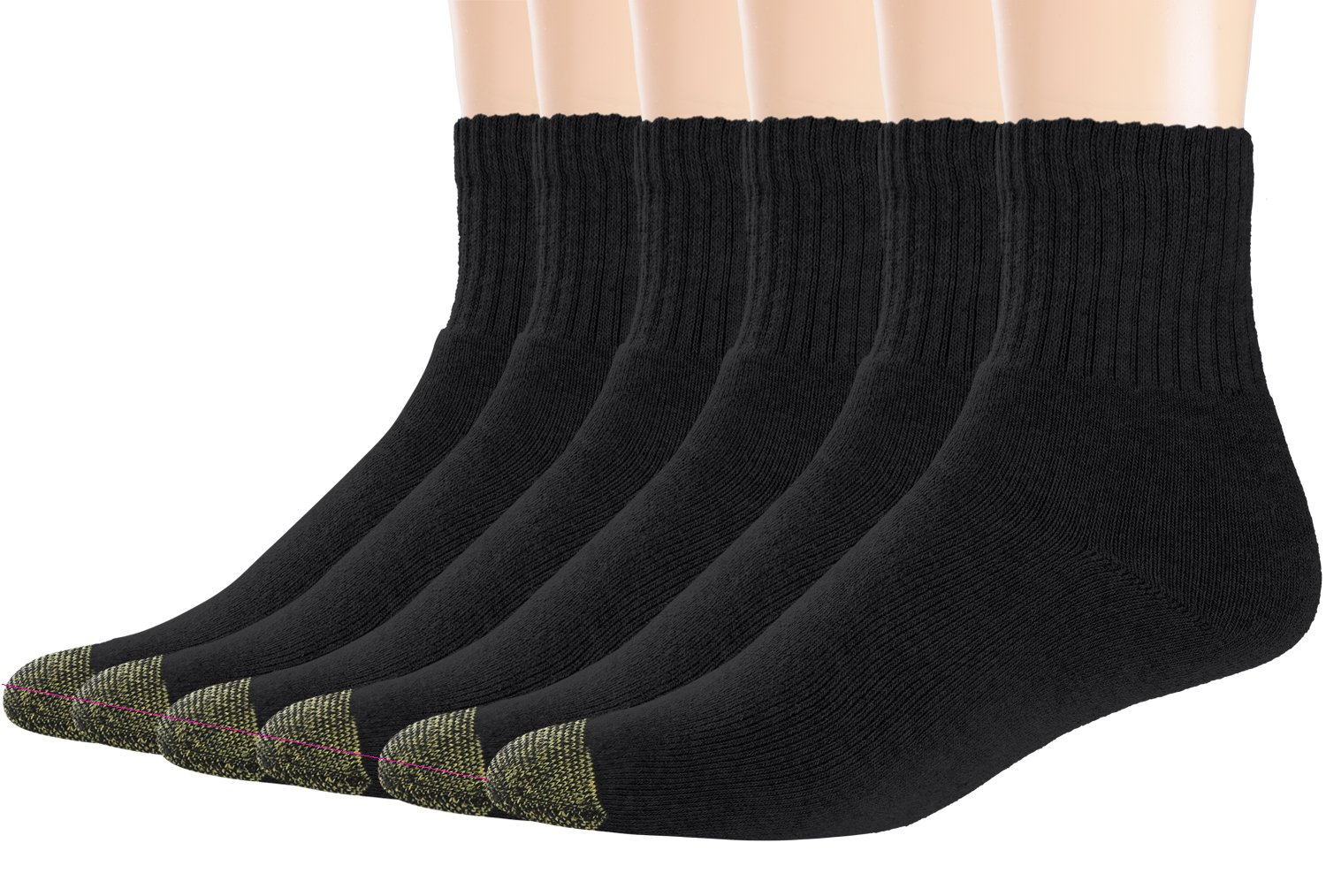 Areke Men's Premium Comfort Cotton Cushion Quarter Crew Athletic Socks, Rib Sports Mid Calf Ankle Soxs Color Black 6Pack Size B