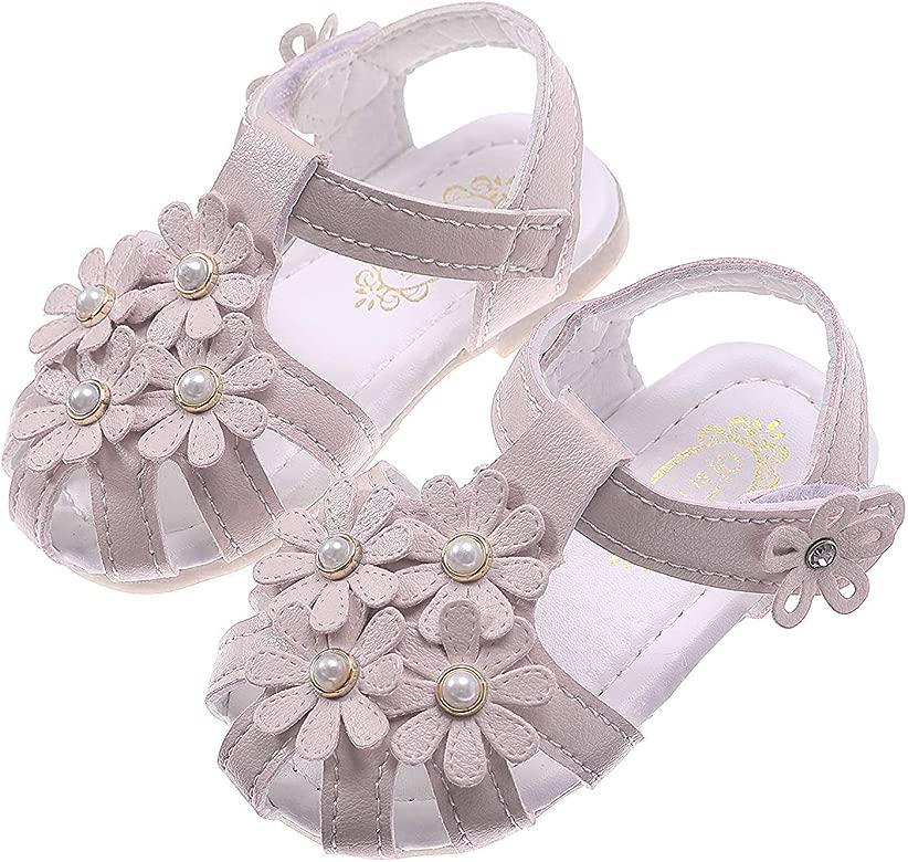 Femizee Girls Genuine Leather Soft Closed Toe Princess Flat Shoes Summer Sandals Toddler//Little Kid