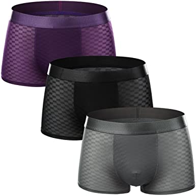 072cd85510bf Image Unavailable. Image not available for. Colour: FZmix Men's Boxer Briefs ,Underwear,Swimming Trunks,Boxers Shorts,Gents Ice Silk