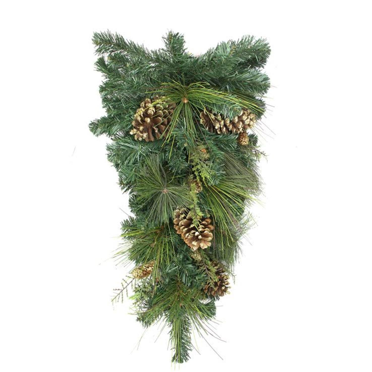 Northlight Unlit Artificial Mixed Pine with Pine Cones and Gold Glitter Christmas Teardrop Swag, 28''