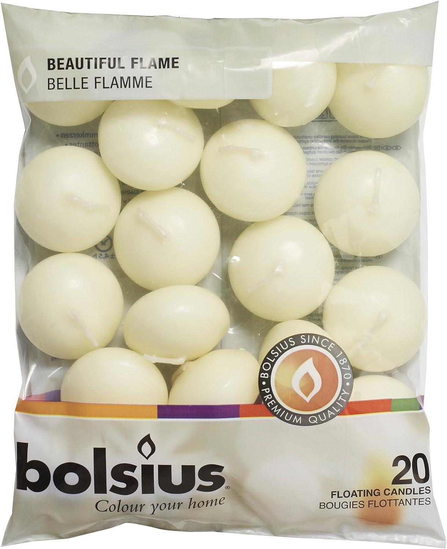 Ivoire /& Rouge-Per Pack 20 Bougies Premium Bolsius bougies flottantes Blanc