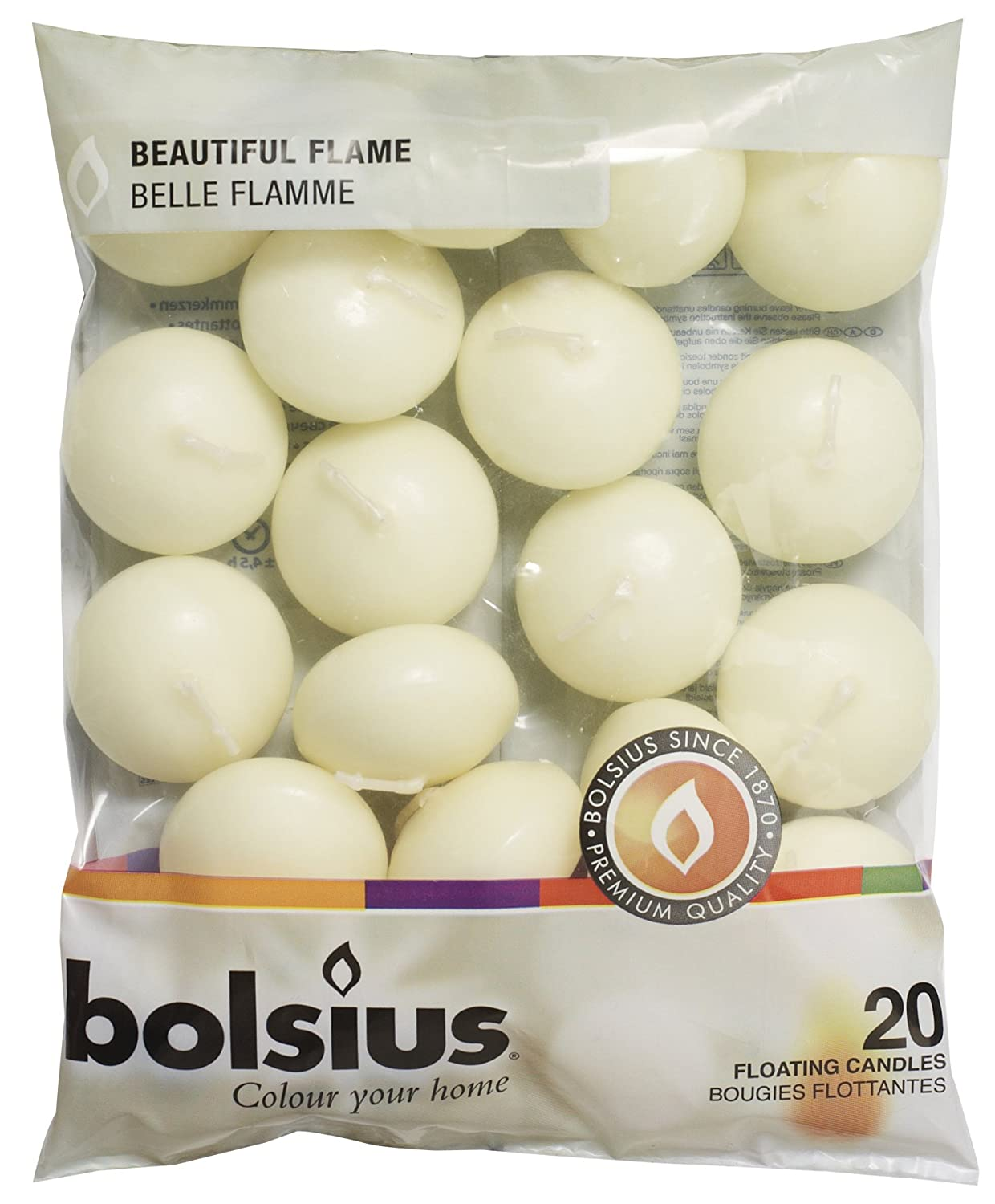 Bolsius Pack of 20 Ivory Floating Candles 1.3/4 Inch 103632053705