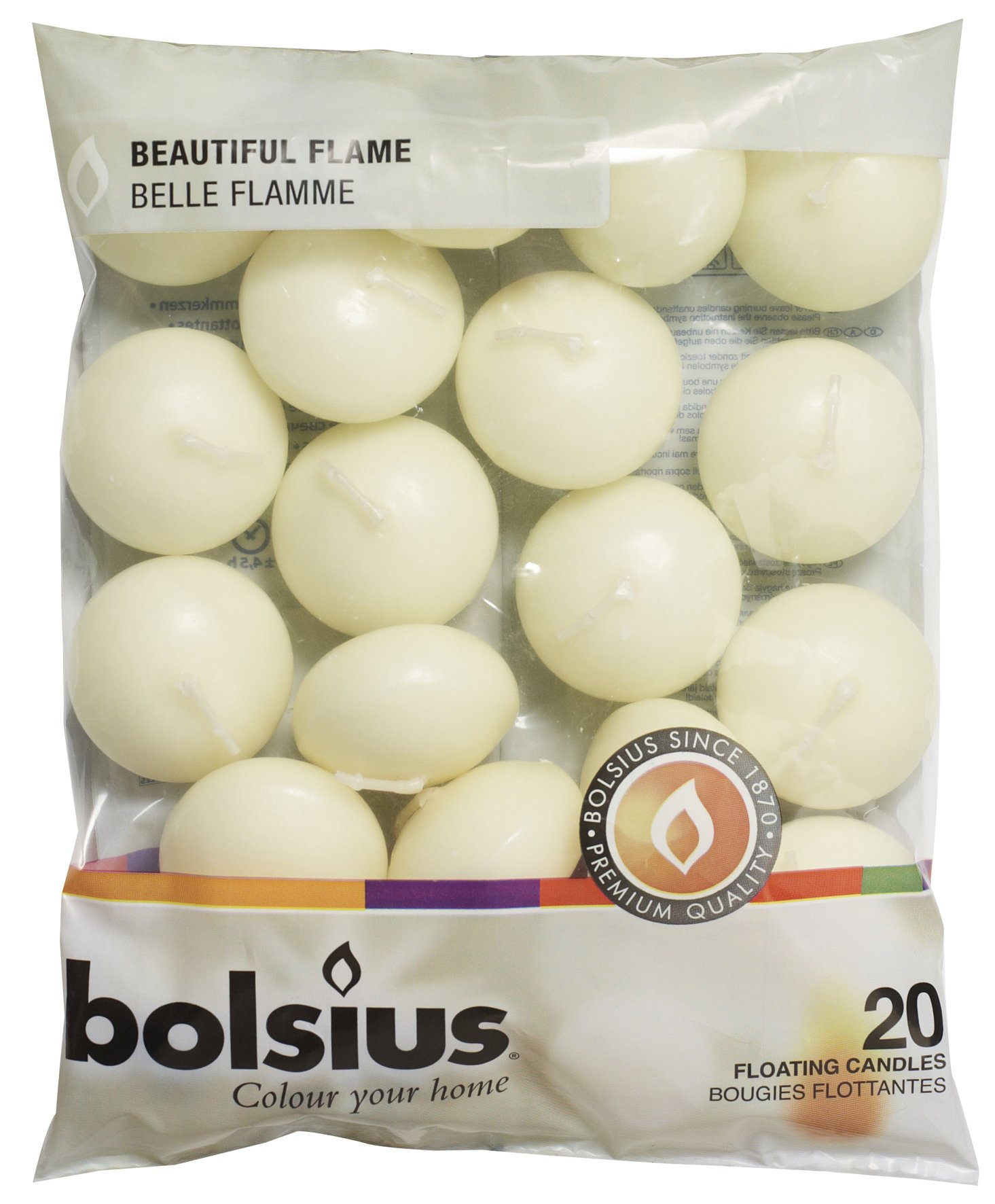 Bolsius Unscented Floating Candles – Set of 40 Ivory Floating Candles 1.3/4 inch – Elegant Burning Candles – Candles Nice Smooth Flame – Party Accessories by bolsius candles