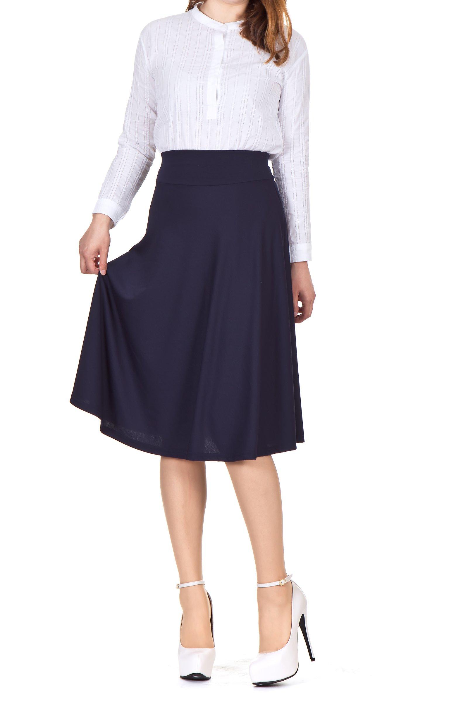 Stretch High Waist A-line Flared Long Skirt (L, Navy)