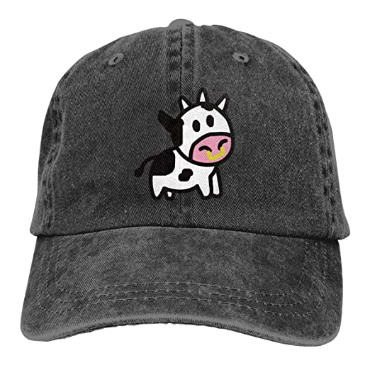 b9870b677ce2ca Cartoon Cow Custom Vintage Funny Men & Women Adjustable Jeans Dad Hat  Cotton Baseball Cap Black at Amazon Men's Clothing store: