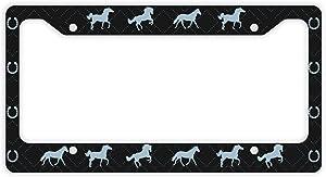 ThisWear Decorative License Plate Frame Horse License Plate Frame Horse Trailer License Plate Frame Horse Car Accessories Novelty License Plate Frame Blue Black