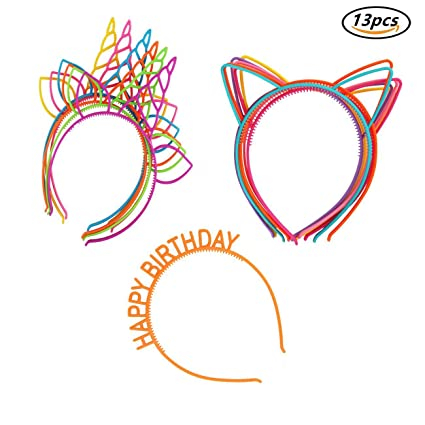 Candygirl Diademas de Orejas de Gato Niñas Niños Diadema de Plástico Unicornio,Disfraces o Fiestas