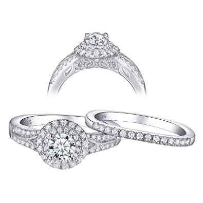 Jewellery & Watches Fine Jewellery 1.20 Ct Diamond Engagement Ring Set 925 Sterling Silver Wedding Band Set Size M