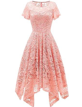 b03db547d99ec bridesmay Damen Elegant Spitzenkleid Rundhals Unregelmässig Zipfel Kleid  Abendkleid Cocktailkleider Blush S