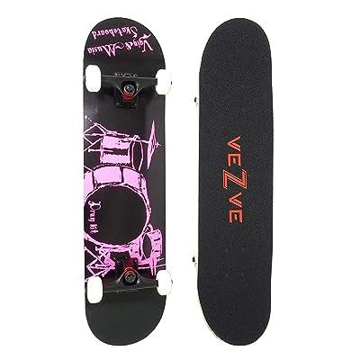 veZve Skateboard Pro Complete 31 inch Drum Kit Skateboard Maple Wood Double Kick Tricks for Teens Adults Beginners 220lb : Sports & Outdoors