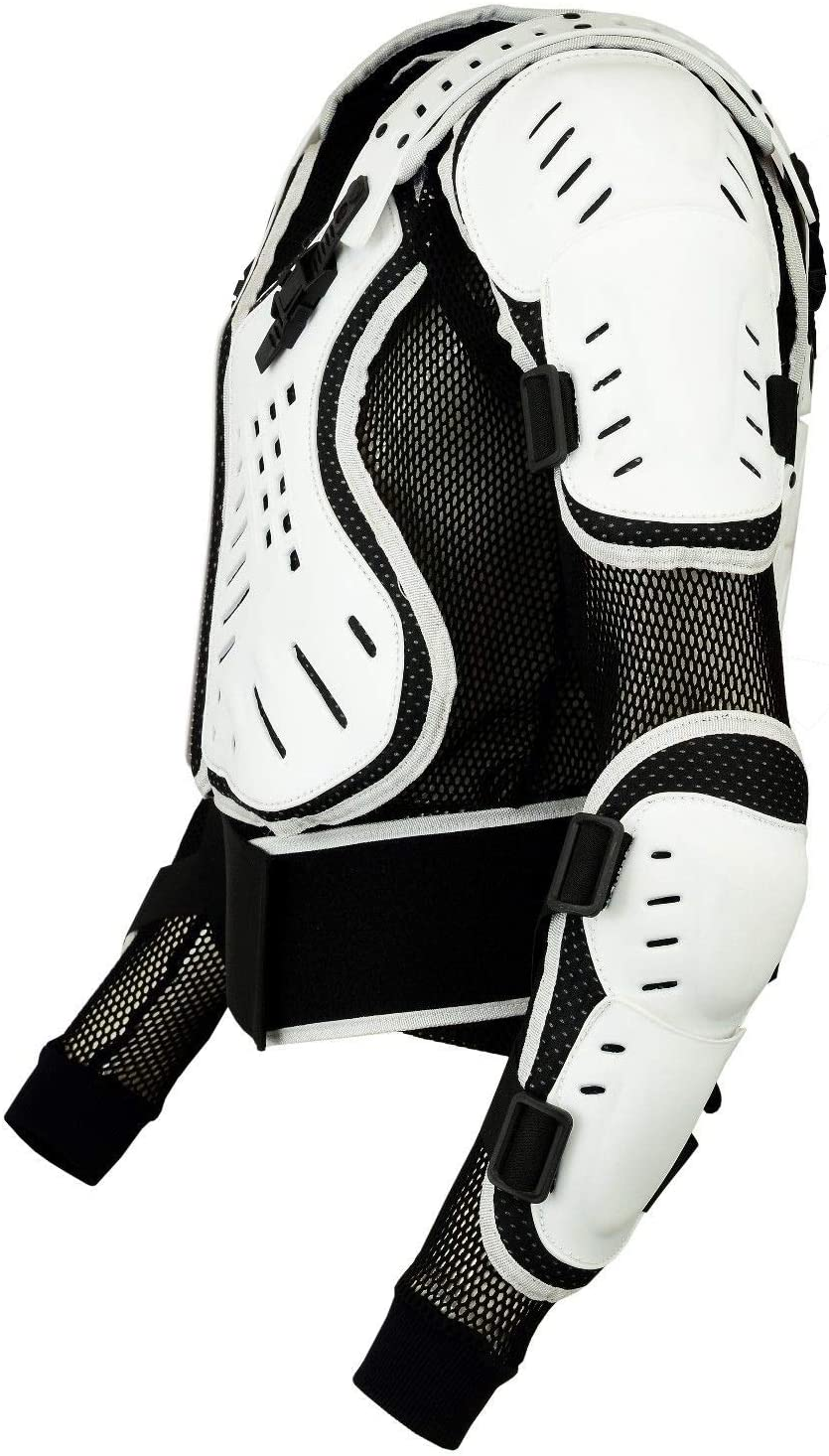 Adult Motocross Body Armour Velcro Fastening Kidney Belt Chest Protection CE Approved Protectors Body Armour Bikequad Enduro Bionic Quad Jacket L, White