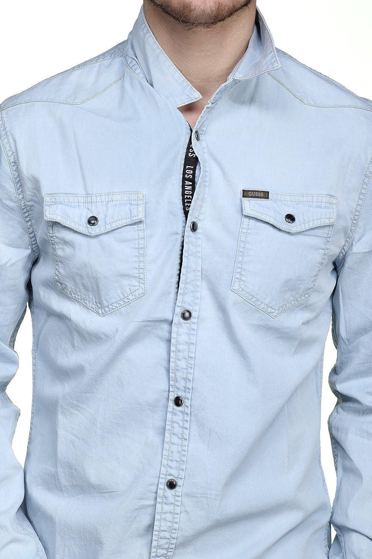 Guess - Camisa casual - para hombre azul L: Amazon.es: Ropa y ...