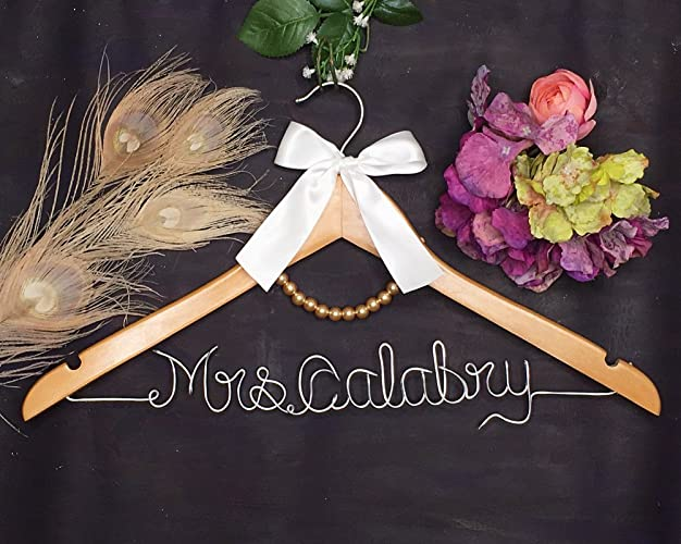 Amazon.com: Personalized Wedding Dress Hanger with Name and a Pearl ...