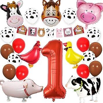 Kreatwow Granja Animales 1er cumpleaños Suministros de Fiesta Decoraciones Animal Mylar Globos Una Pancarta para niños Decoración de Primer cumpleaños ...