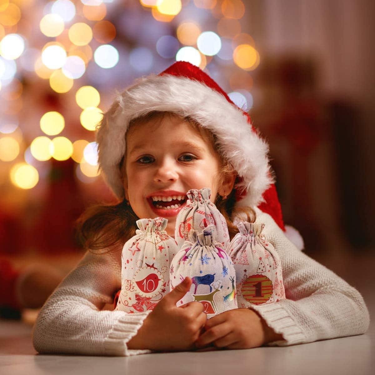 Relleno Artesanal de Bricolaje Simon Lee Woodham 24 Bolsas de Calendario de Adviento Bolsas Peque/ñas DIY Calendarios de Adviento para Navidad Bolsas de Calendario de Adviento de Navidad