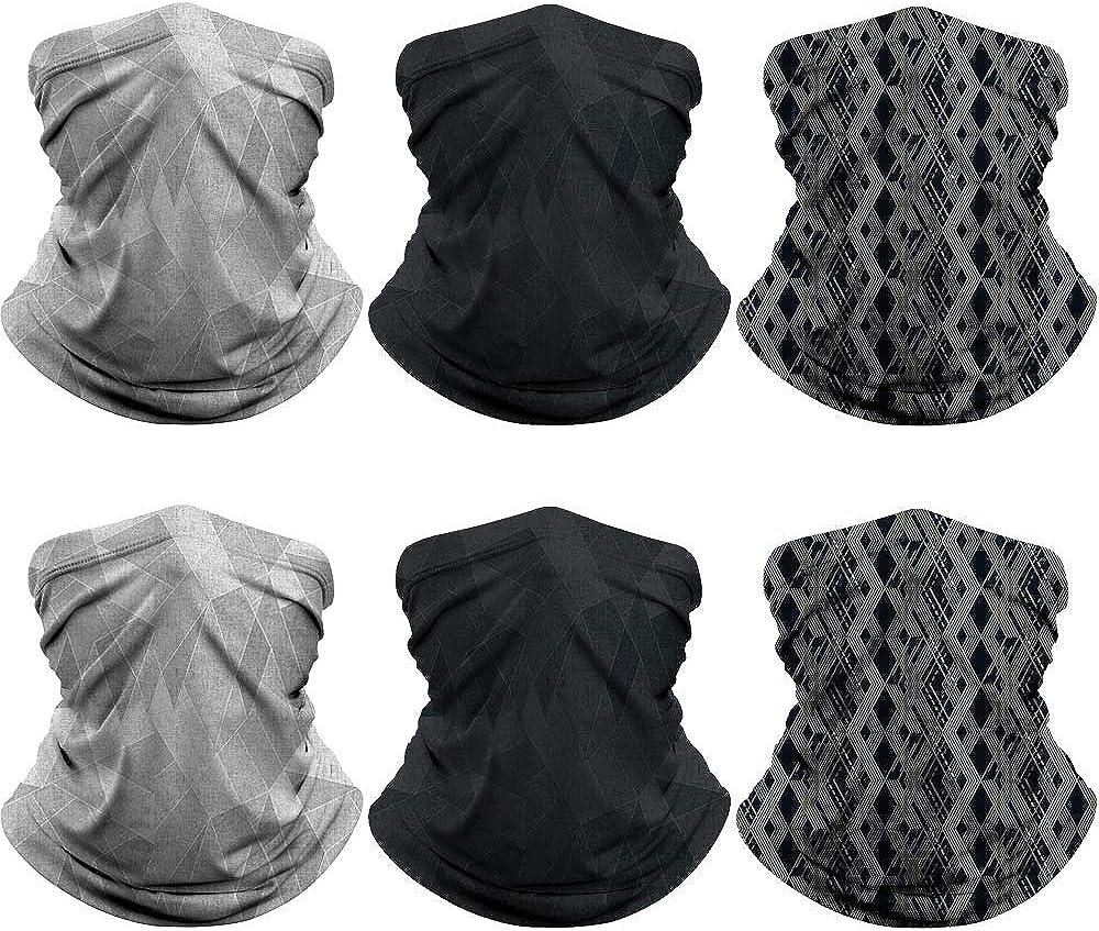 6 Pieces UV-Proof Neck Warmer//Face Scarf Neck Gaiter Lightweight Bandana Outdoor Sports For Men Women