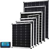 Gencity 12V 100W 130W 160W 200W 250W 300W 325W Flat Solar Panel Kit Mono Camping Caravan Boat Charging Power Battery