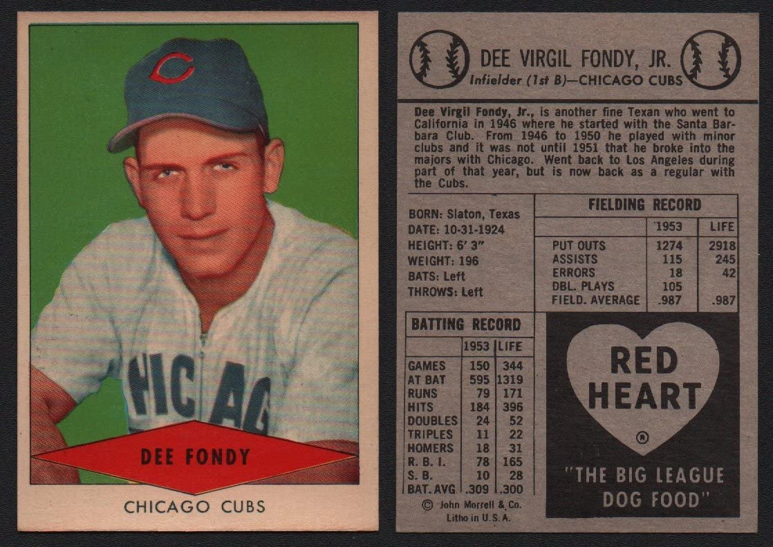 1954 Red Heart Dog Food Regular (Baseball) Card# 8 Dee Fondy of the Chicago Cubs ExMt Condition