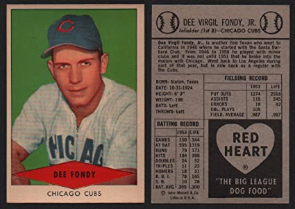 1954 Red Heart Dog Food Regular Baseball Card 8 Dee Fondy
