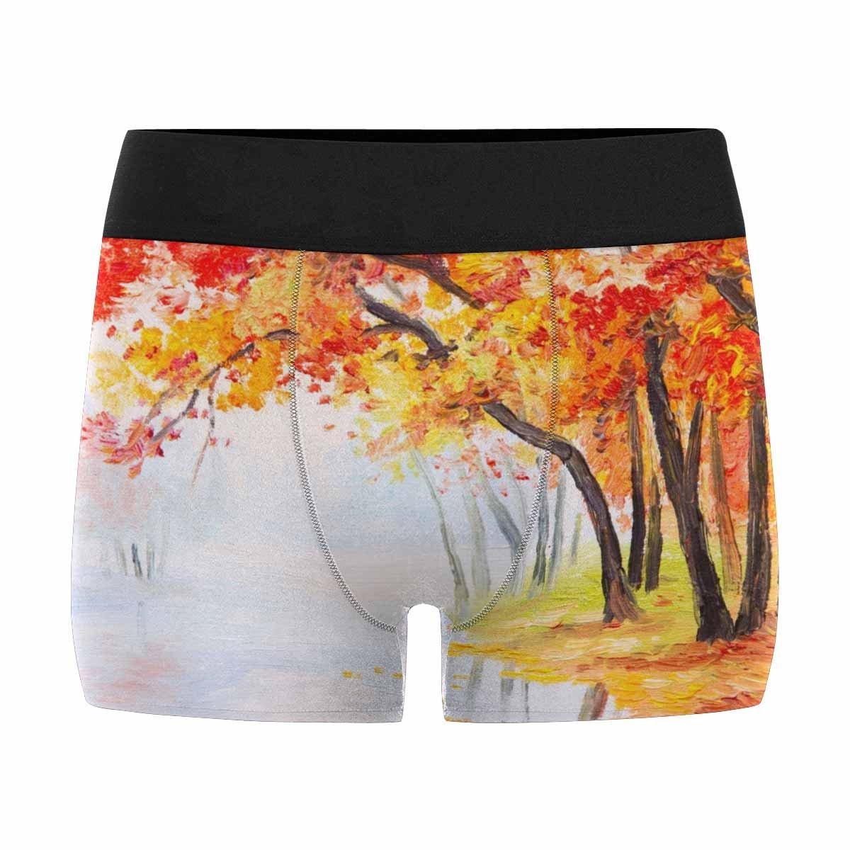 Orange Leaves INTERESTPRINT Boxer Briefs Mens Underwear Oil Painting Landscape Autumn Forest Near The Lake XS-3XL