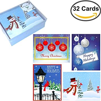 32 boxed christmas cards assortment of festive designs with envelopes in attractive box