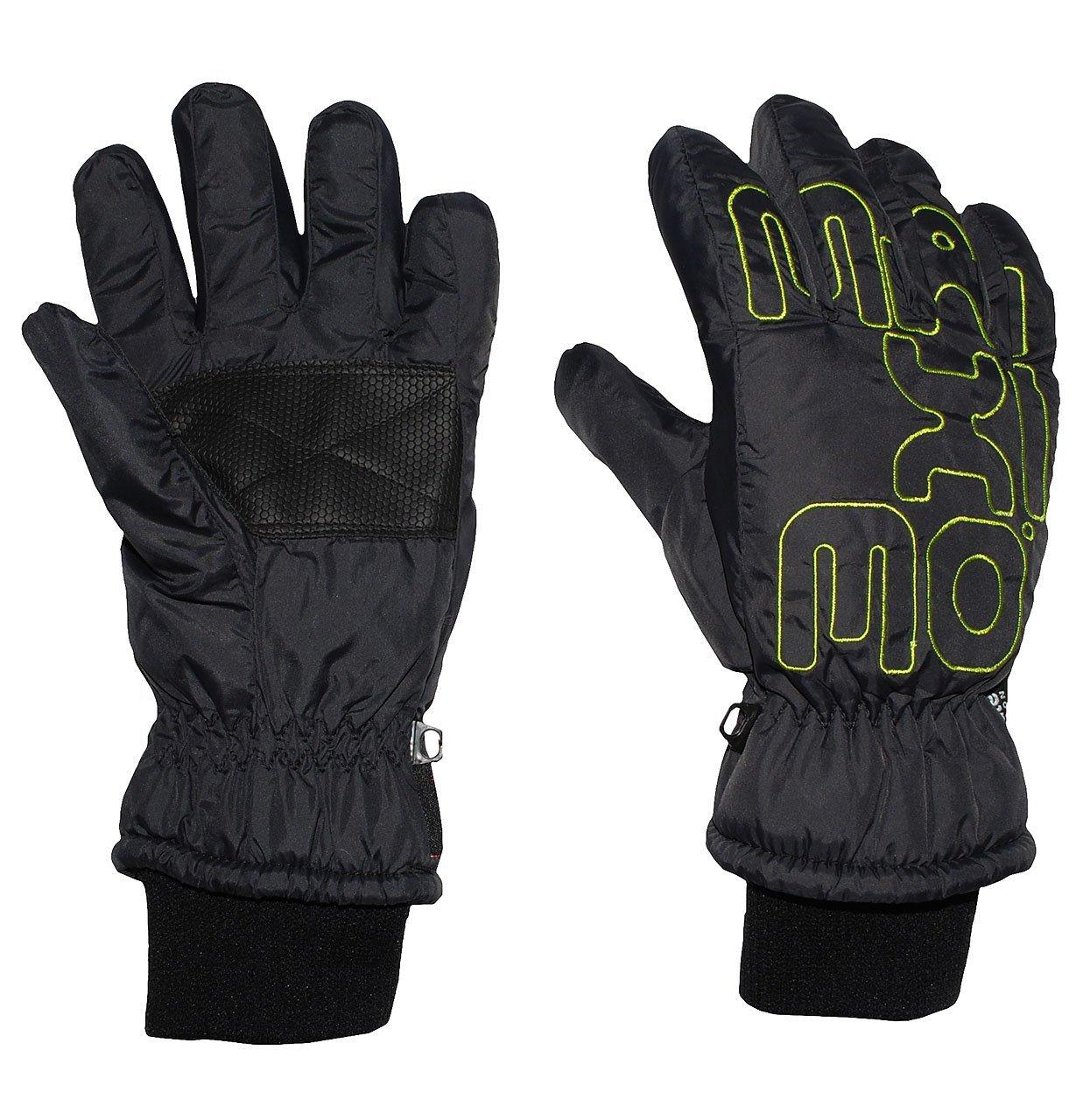 Fingerhandschuhe mit Schaft / Strick Bündchen - schwarz mit NEON grün - Thermo gefüttert Thermohandschuh - Größe: 5 bis 7 Jahre - wasserdicht + atmungsaktiv Thinsulate - Fingerhandschuh für Kinder - Mädchen Jungen - Thermohandschuhe Handschuhe - Baumwolle Futter