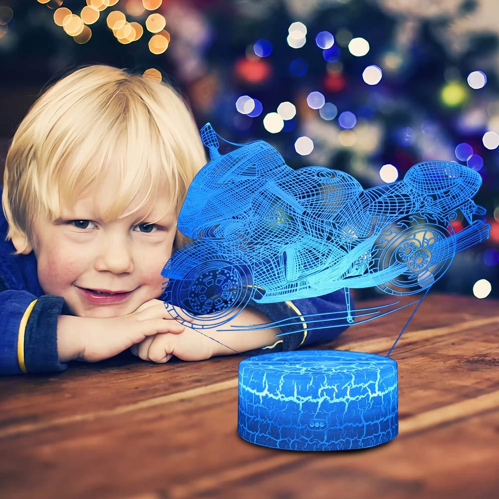 LED L/ámpara de Mesa 3D Moto con Control Remoto Sensor Tacto Navidad Regalos de Mujer Bebes Hombre Ni/ños Amigas Decoracion Cumplea/ños QiLiTd Regulable L/ámpara de Noche de Atm/ósfera Modo RGB