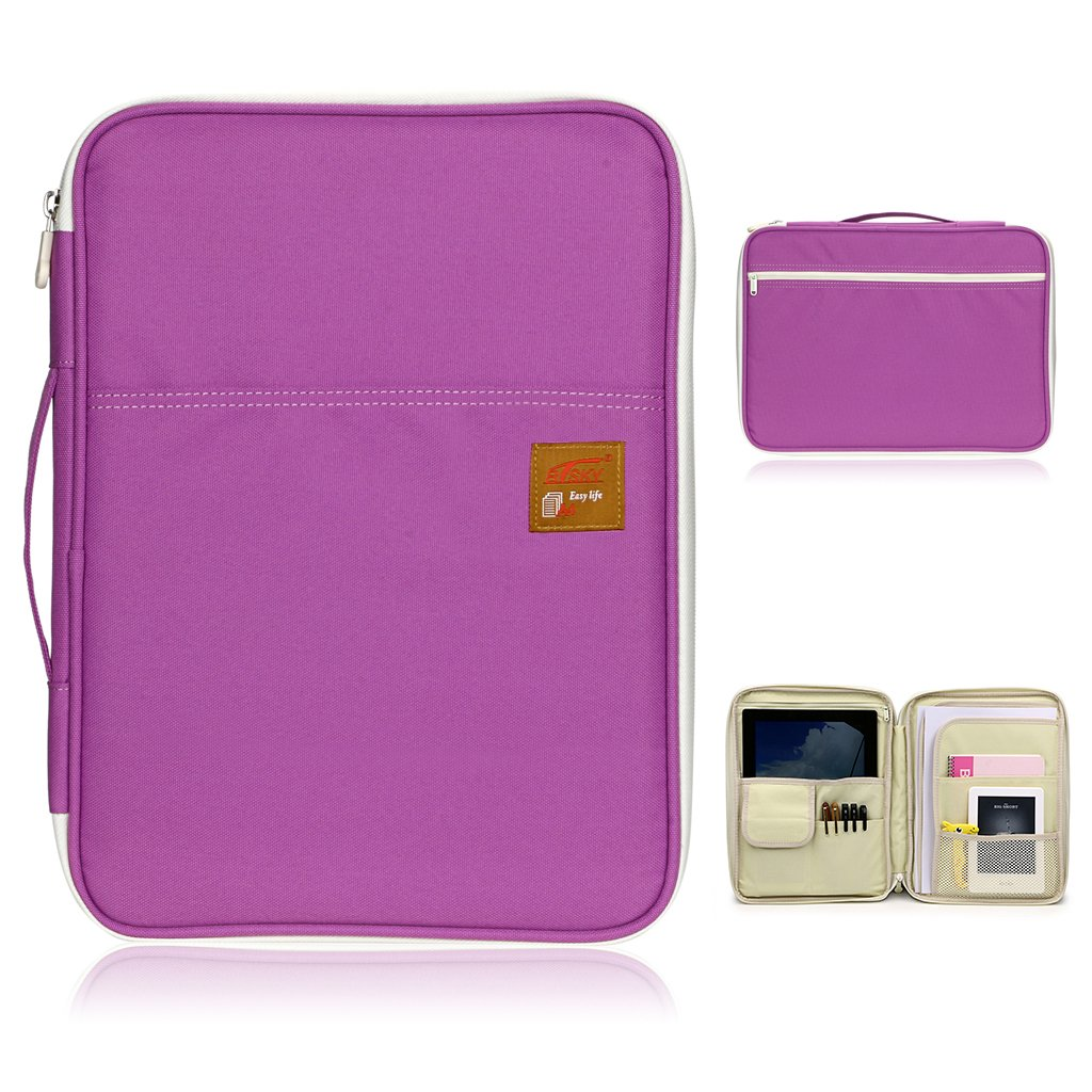 BTSKY Multi-functional A4 Document Bags Portfolio Organizer-Waterproof Travel Pouch Zippered Case for Pads, Notebooks, Pens, Documents (Purple)