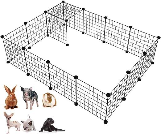 LANGXUN Organizador de los Cubos del Almacenamiento del Alambre de Metal | Productos para Mascotas Cerca de jardín de Alambre metálico (Negro, 16 Paneles): Amazon.es: Productos para mascotas