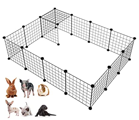 LANGXUN 16pcs Metal Wire Storage Cubes Organizer, DIY Small Animal Cage for  Rabbit, Guinea Pigs, Puppy | Pet Products Portable Metal Wire Yard