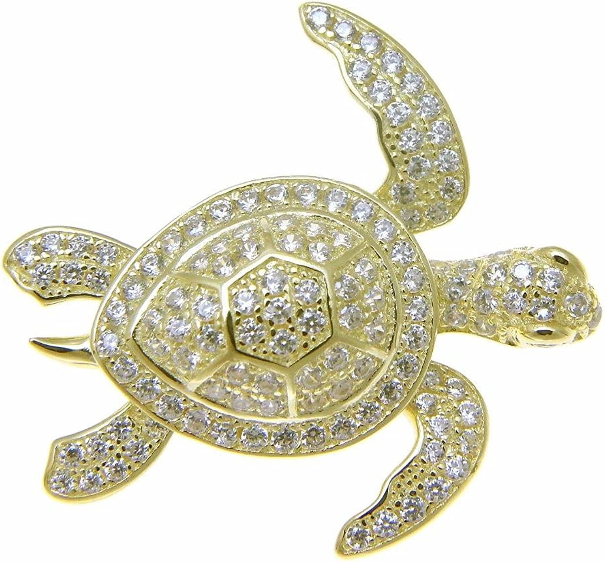 20mm Silver Yellow Plated 3D Turtle Pendant