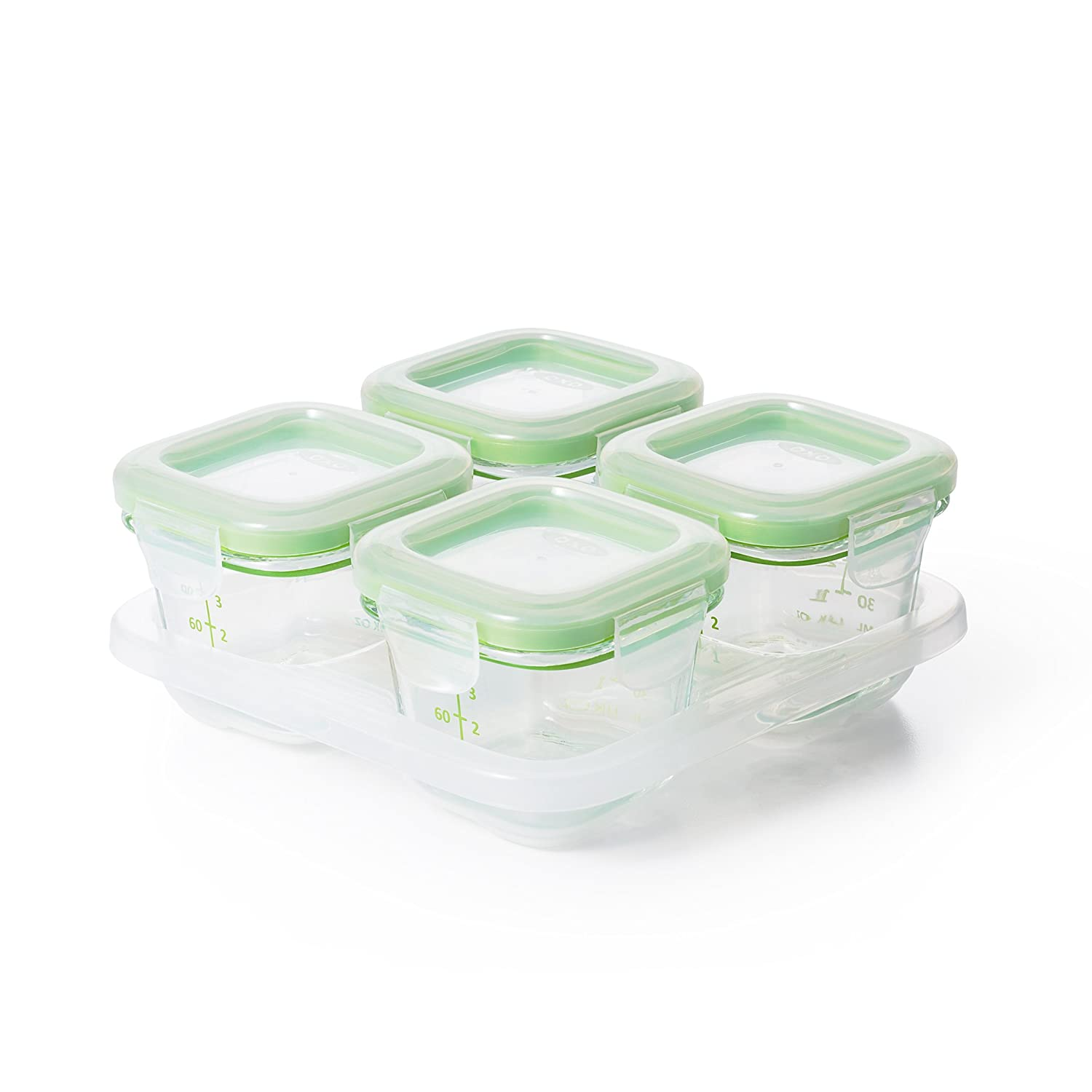 OXO Tot Glass Baby Blocks Food Storage Containers, Green, 4 oz 61114800