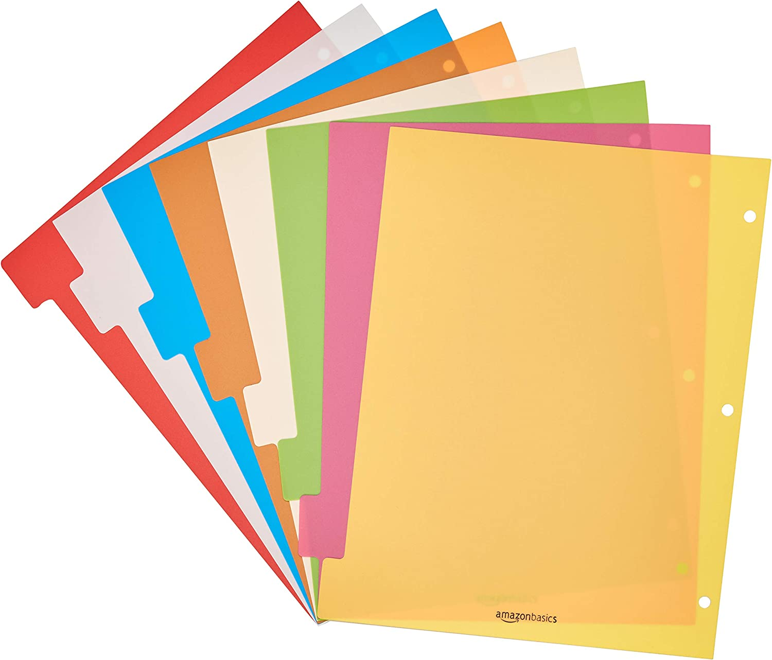 Basics 3 Ring Binder Dividers with 8 Tabs, Pack of 6 Sets : Office Products
