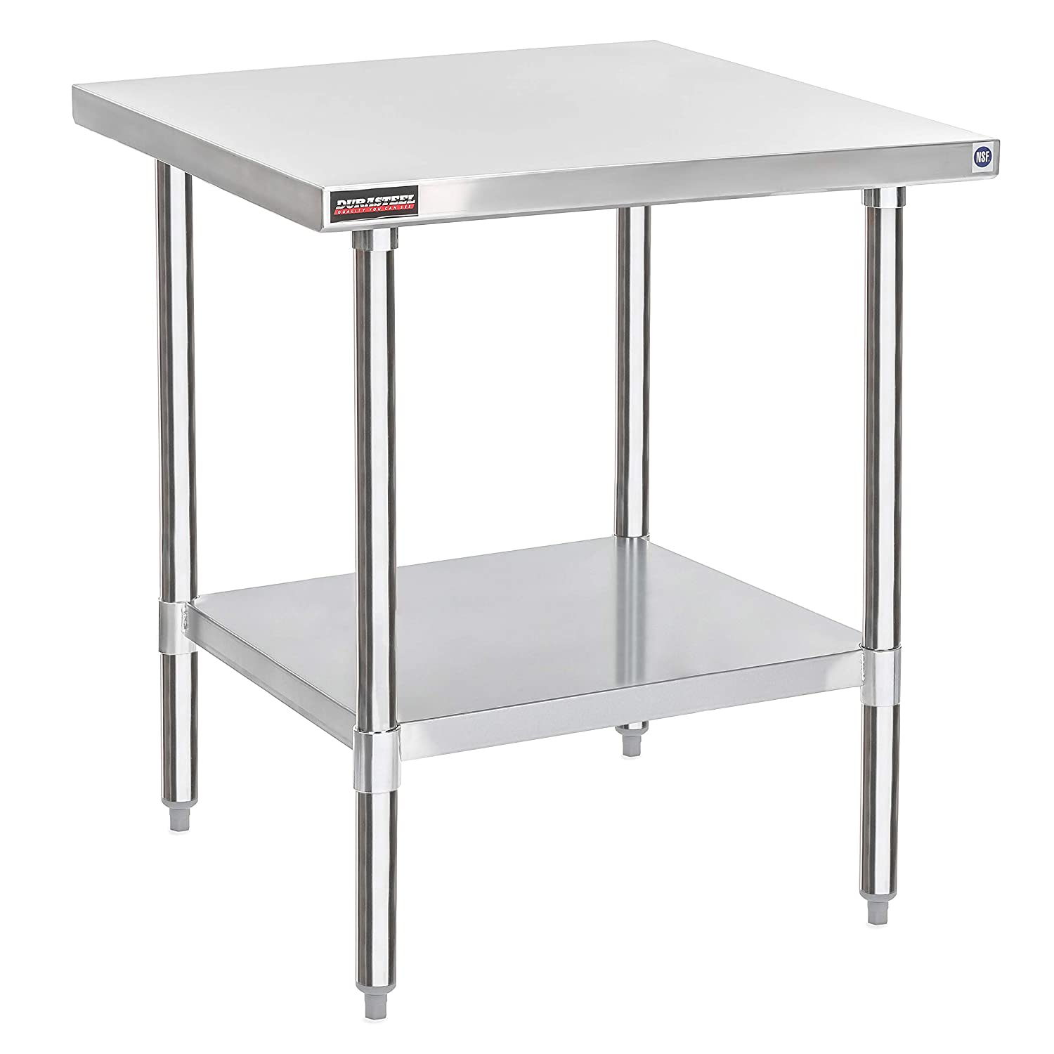 "DuraSteel Stainless Steel Work Table 30"" x 30"" x 34"" Height - Food Prep Commercial Grade Worktable - NSF Certified - Fits for use in Restaurant, Business, Warehouse, Home, Kitchen, Garage"