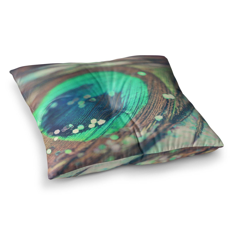 23 x 23 Square Floor Pillow Kess InHouse Beth Engel Peacocks Dream