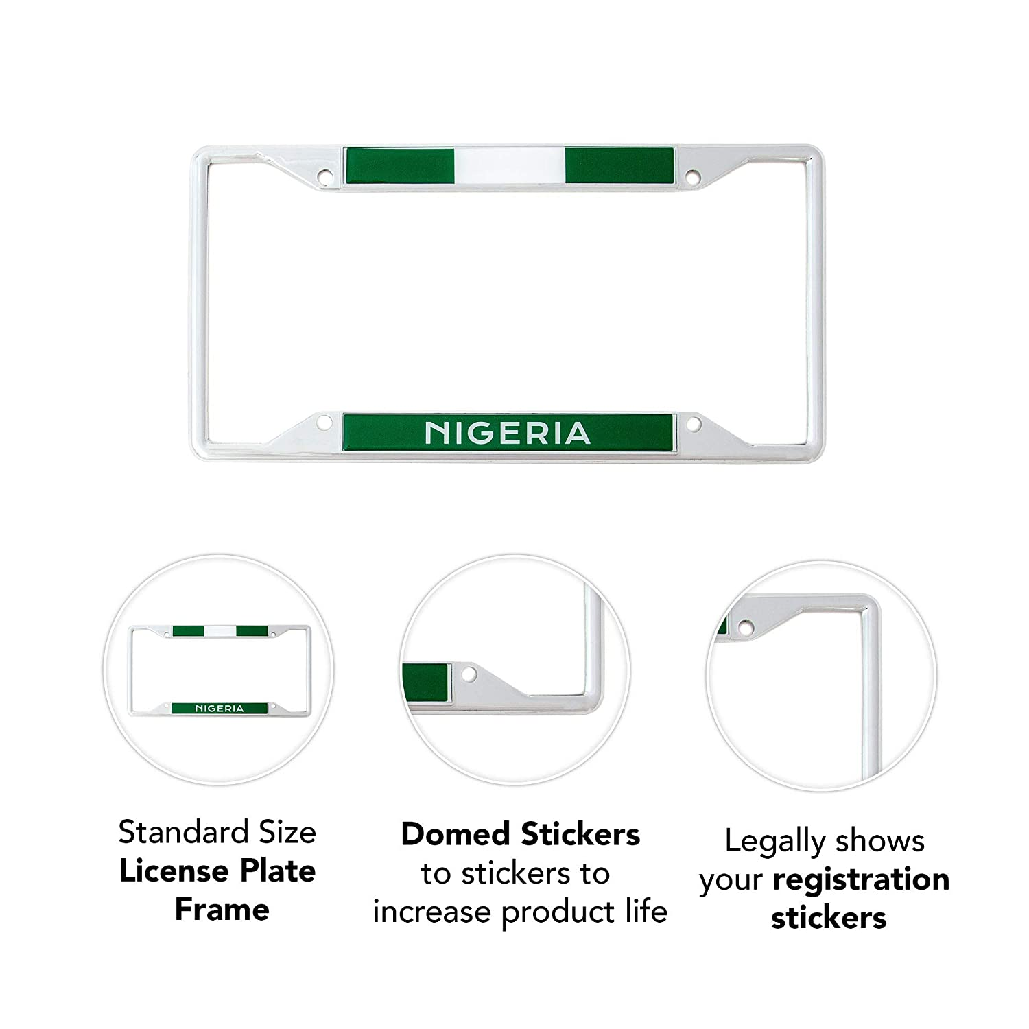 Desert Cactus Country of Nigeria Flag License Plate Frame for Front Back of Car Vehicle Truck Nigerian