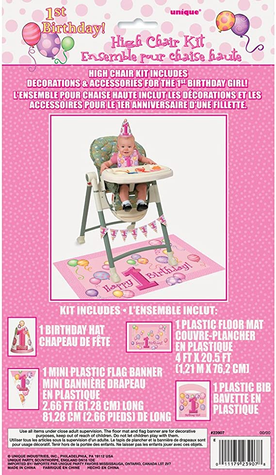 Baby Girls 1st Birthday High Chair Kit Decorations Banner Crown Floor Mat Party