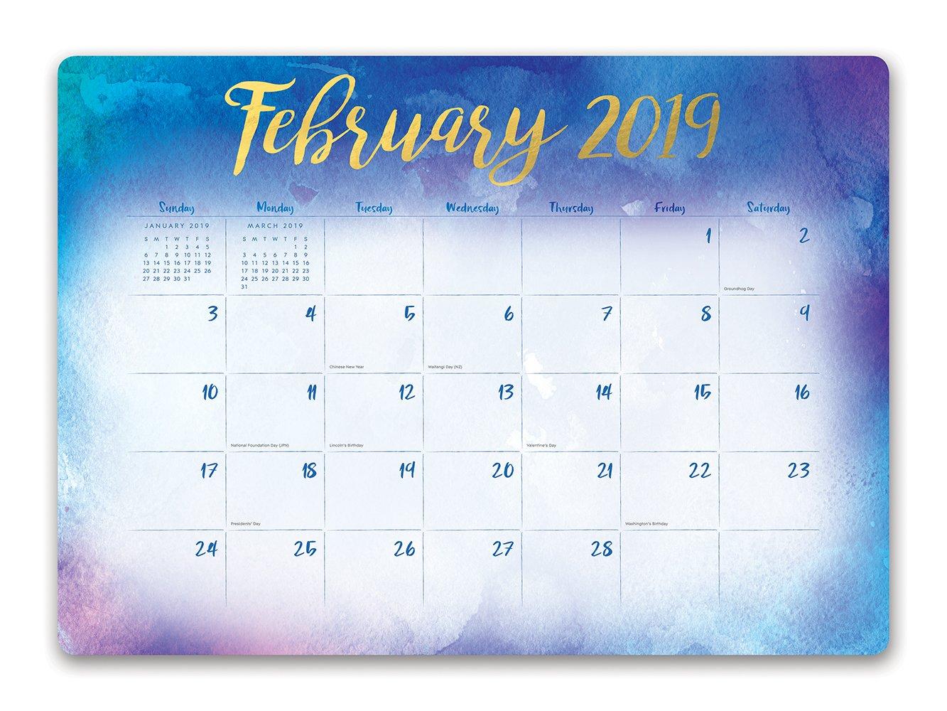 Orange Circle Studio 2019 Decorative Desk Blotter Calendar, August 2018 - December 2019, Aquarelle