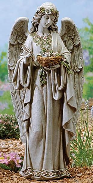 24u0026quot; Josephu0027s Studio Angel Holding Birdu0027s Nest Outdoor Garden Statue