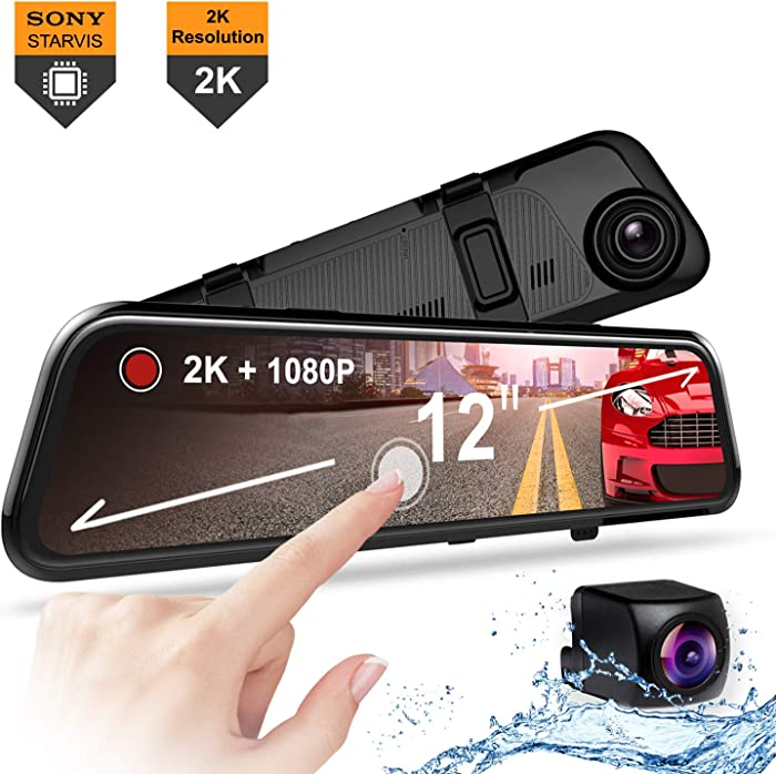 "REXING M1 PRO 2K DUAL MIRROR DASH CAM 12"" IPS TOUCH SCREEN, 1440p (FRONT) + 1080p (REAR), WATERPROOF BACKUP CAMERA, STREAM MEDIA, PARKING MONITOR, SONY IMX 335 SENSOR NIGHT VISION, SUPPORT UP TO 256GB"