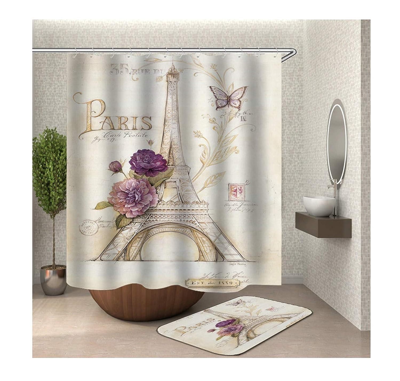 AieniD Cortina Ba/ño Tela Impermeable Antimoho Torre Eiffel Vistoso Cortina De Ducha Estanca Size:90X180CM