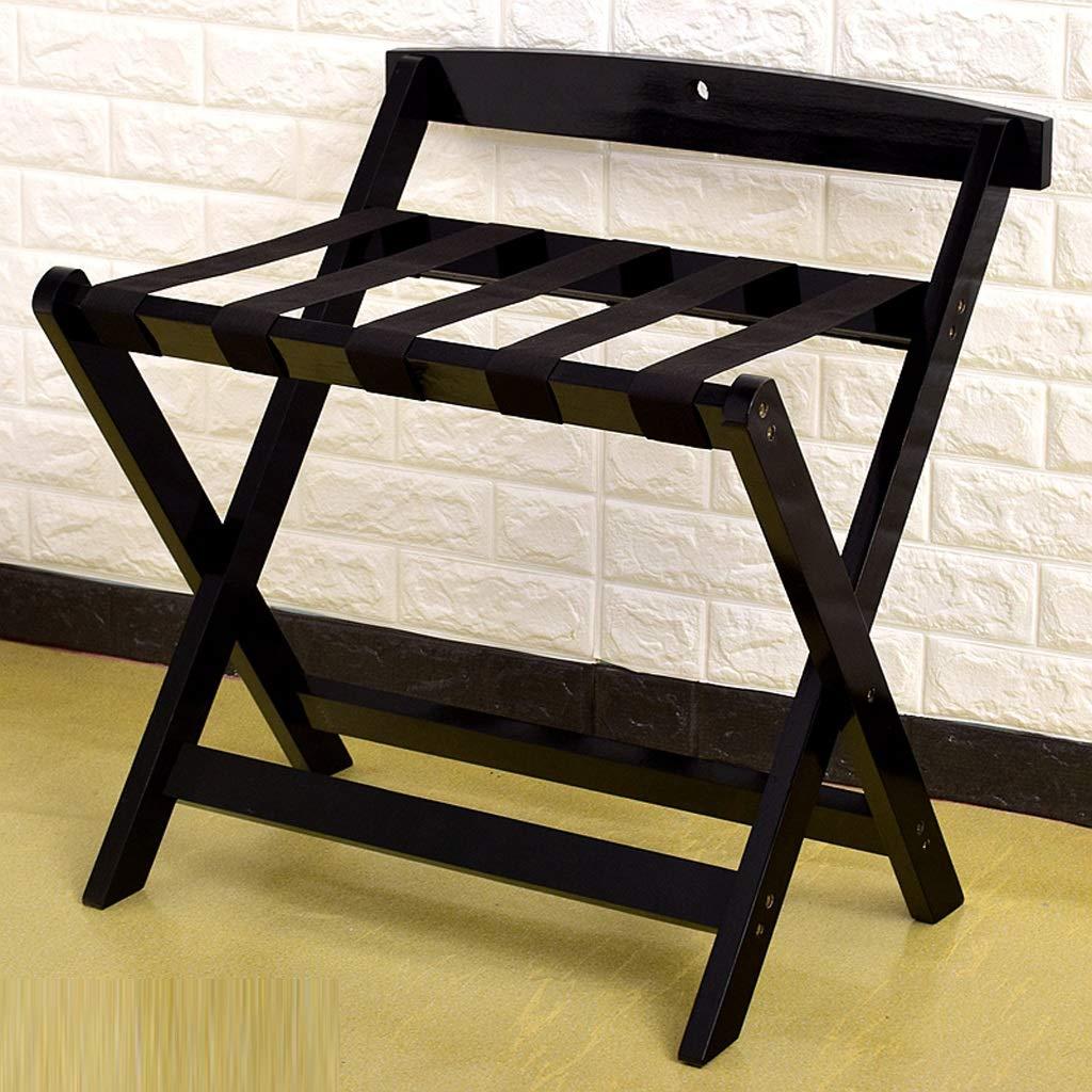 NYDZDM ホテル荷物棚折りたたみ式ベッドルーム棚フロア立て衣類ラックソリッドウッドのバスルームの収納ラック (Color : Black) B07SQW2GXV Black