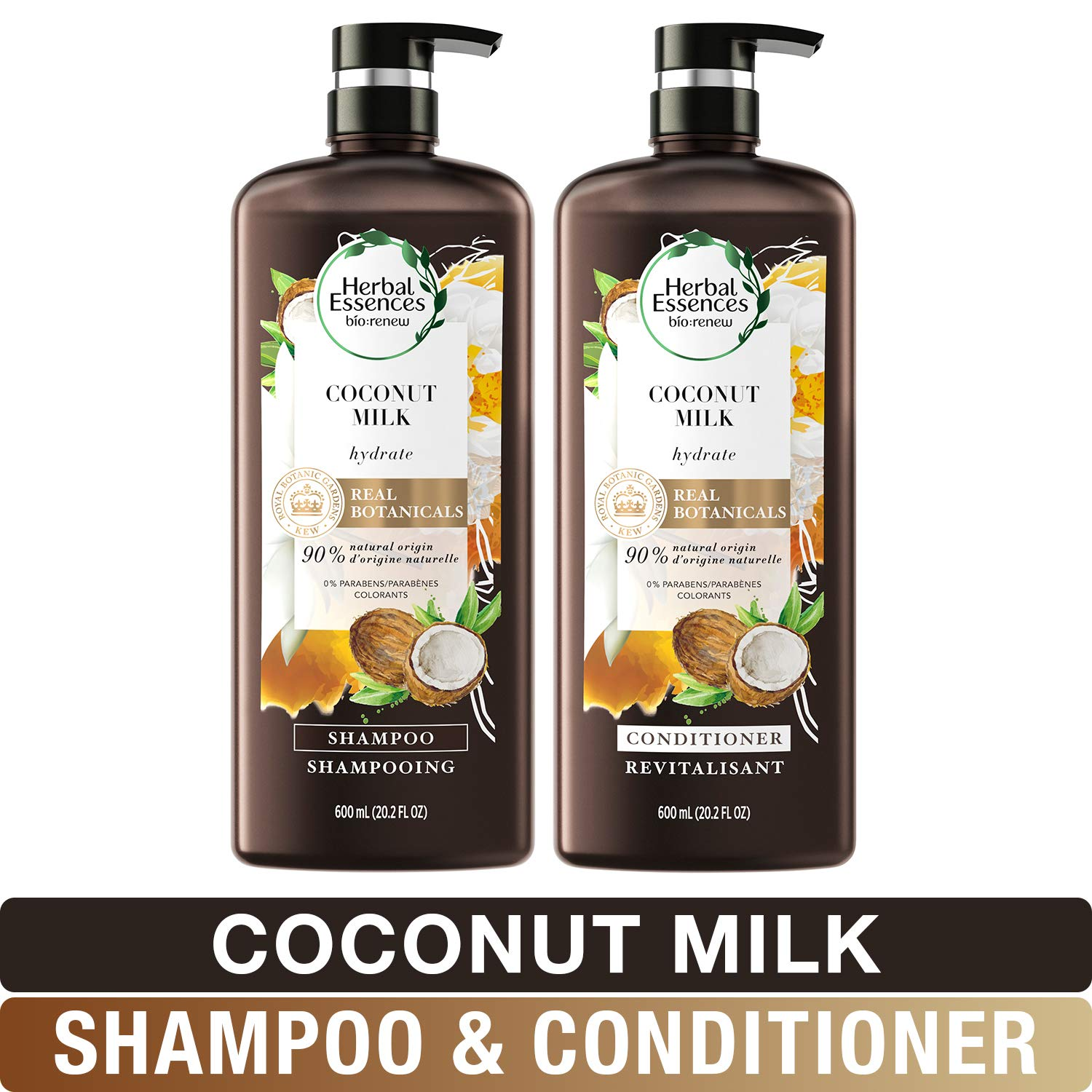 Herbal Essences, Shampoo and Conditioner Kit With Natural Source Ingredients, Color Safe, BioRenew Coconut Milk, 20.2 fl oz, Kit by Herbal Essences