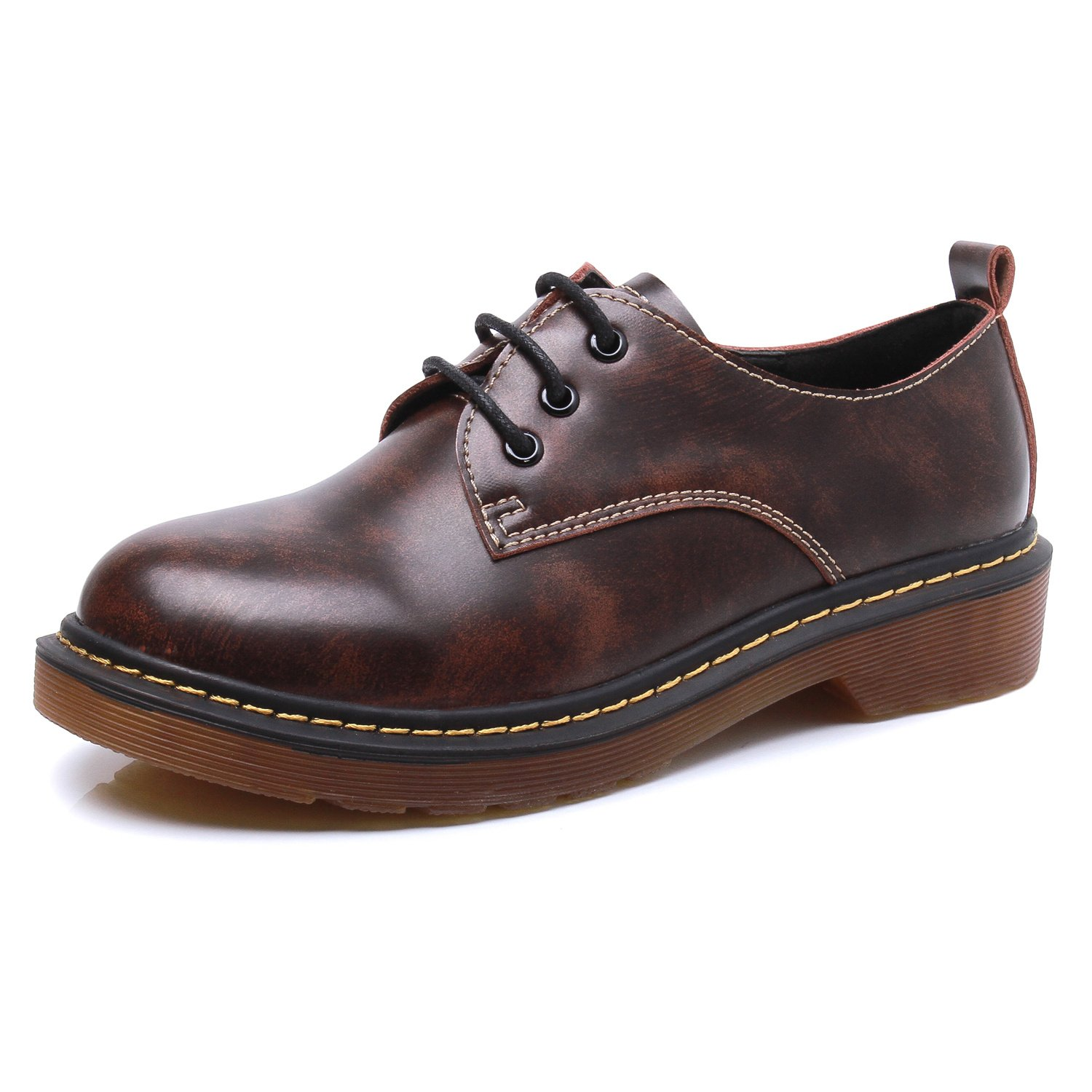 Smilun Women¡¯s Formal Shoes Dress Brogues Classic Lace-up Flats Shoes for Jeans for Women Brown Size 8 B(M) US