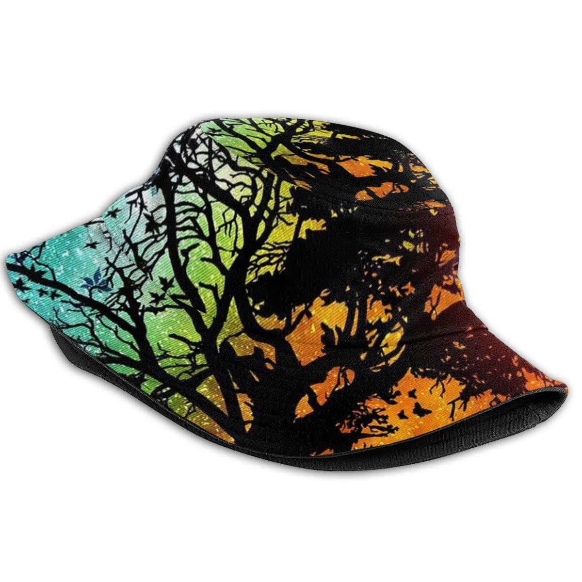 Unisex 100/% Polyester Forest Tree Art Life Tree Moon Night Sun Day Baseball Cap Low Profile Trucker Baseball Cap for Unisex